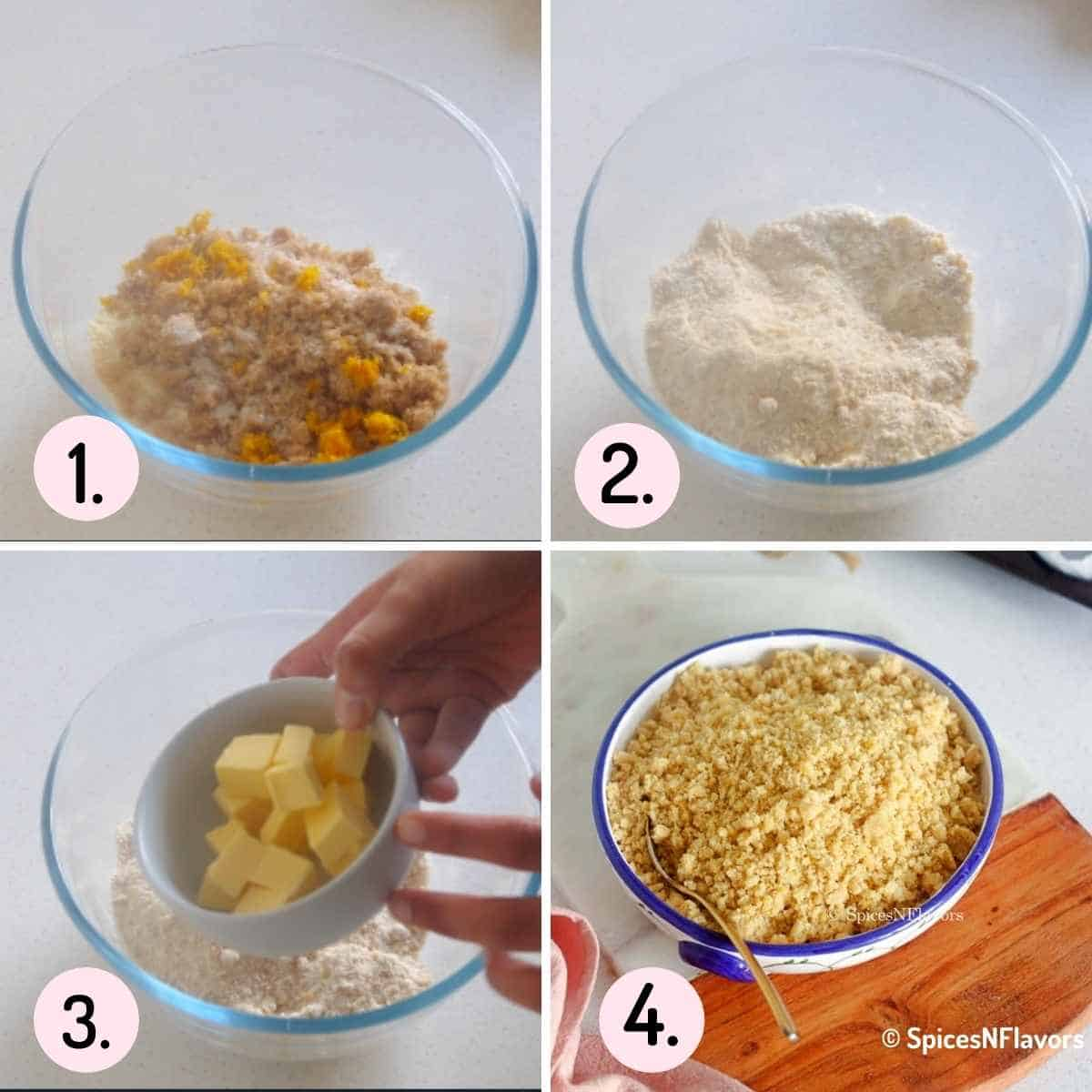 collage of steps explaining how to make streusel topping for lemon muffins