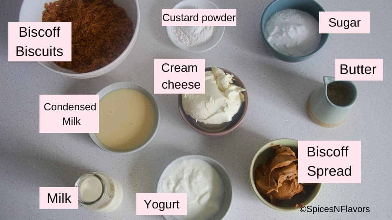 ingredients needed to make biscoff cheesecake
