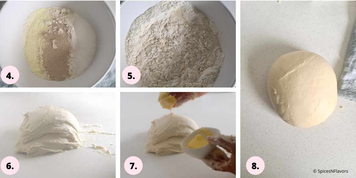 collage of steps showing how to prepare the dough