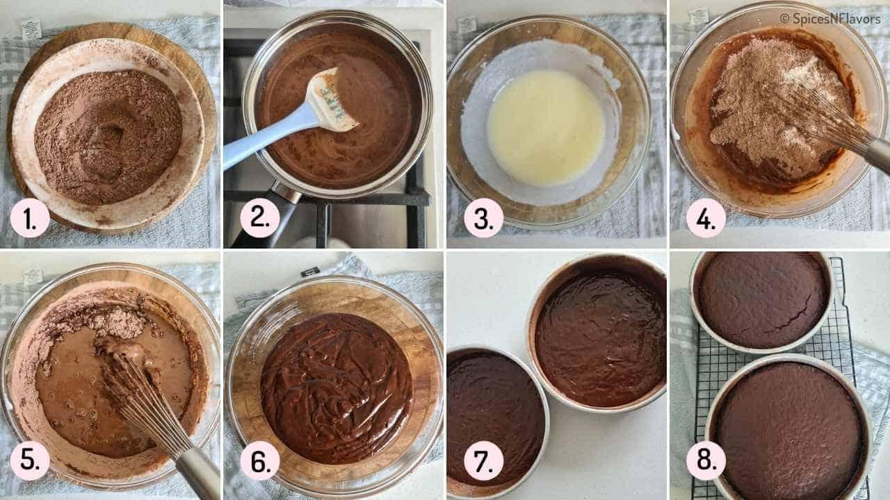 collage of steps explaining how to bake eggless chocolate cake base