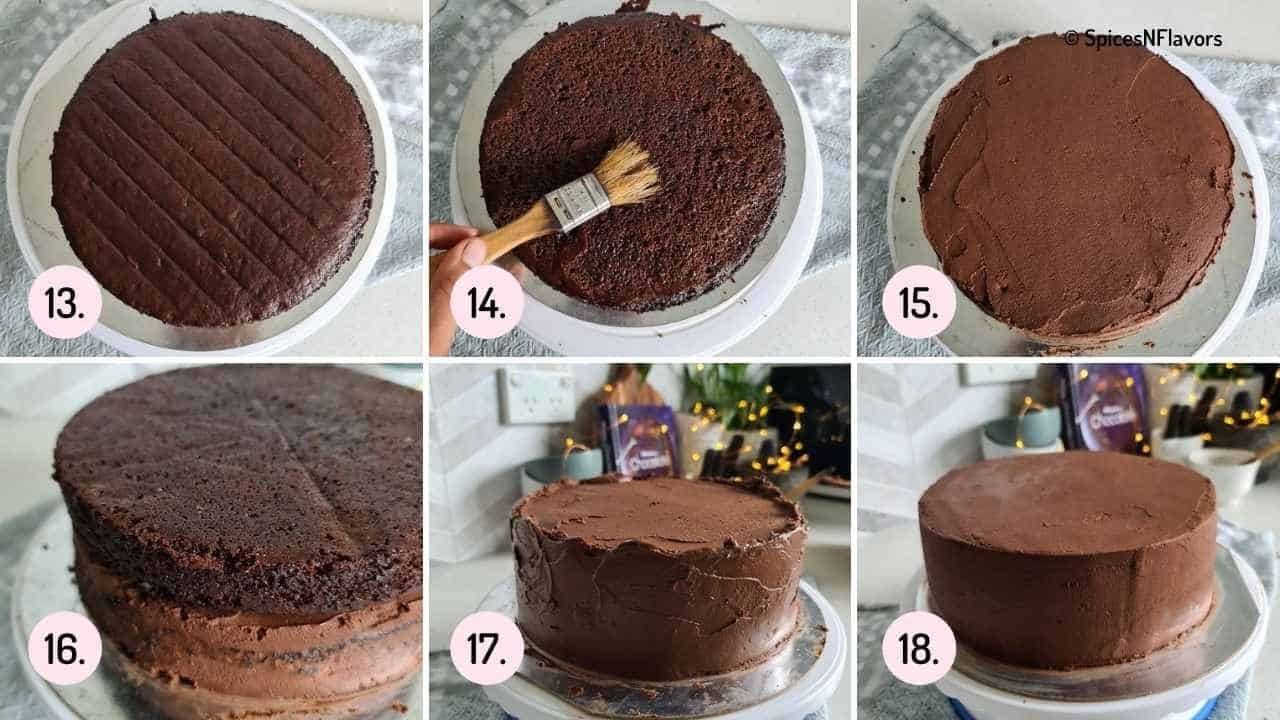 collage of steps explaining how to assemble the truffle cake