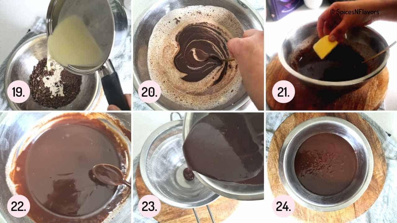 collage of steps explaining how to make chocolate glaze