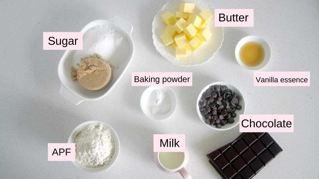 ingredients needed to make eggless chocolate chip cookies
