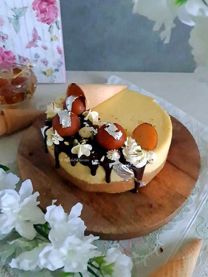 overhead image of the baked cheesecake showing the entire decoration from top angle