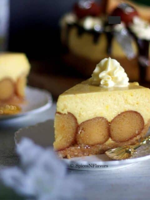 close cropped image of the sliced cheesecake for recipe card