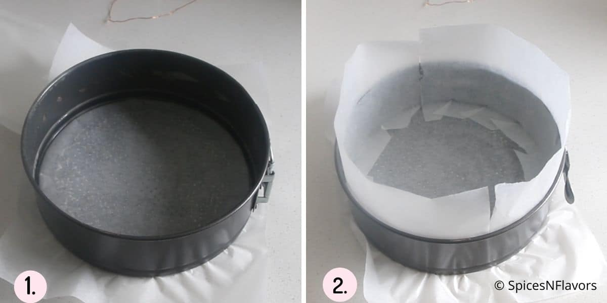 collage of steps showing how to prepare cake pan