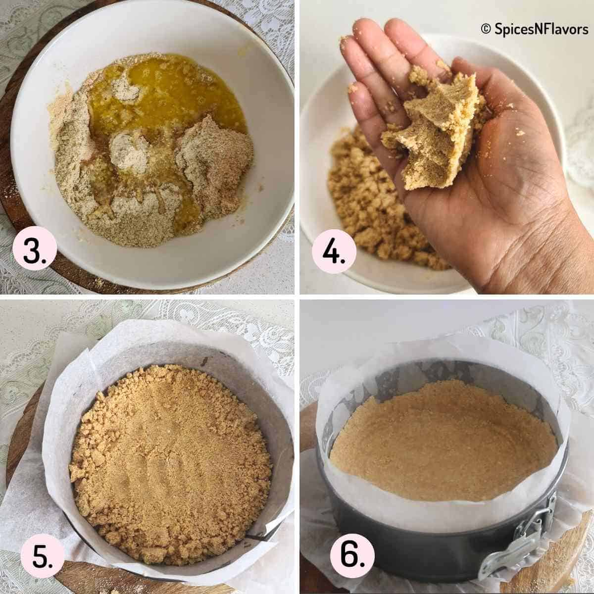 collage of steps explaining how to prepare cheesecake crust