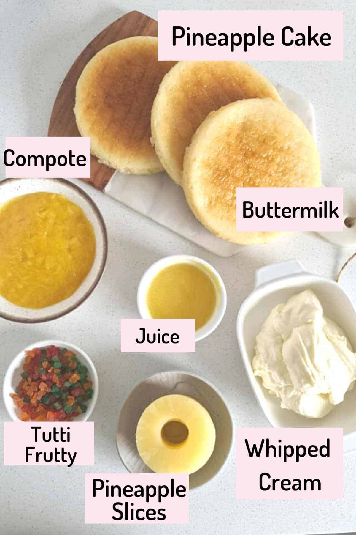 ingredients needed to make pineapple cake