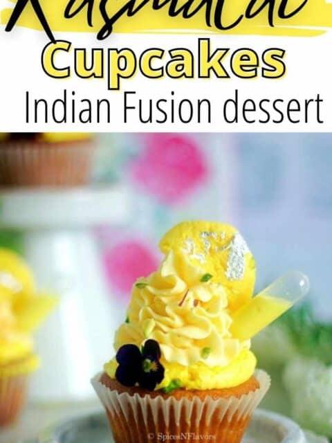 pin image of rasmalai cupcakes