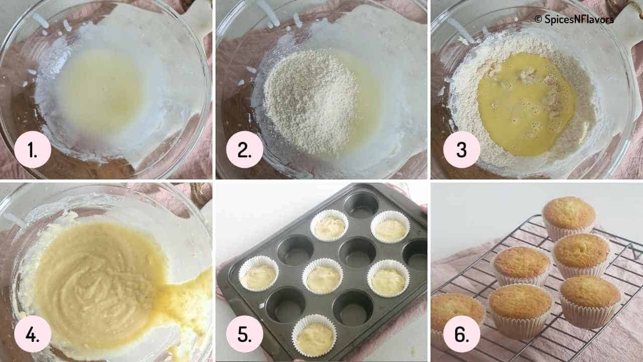 collage of images showing how to prepare cupcakes without eggs