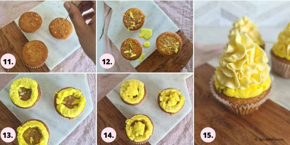 collage of steps showing how to assemble the cupcakes