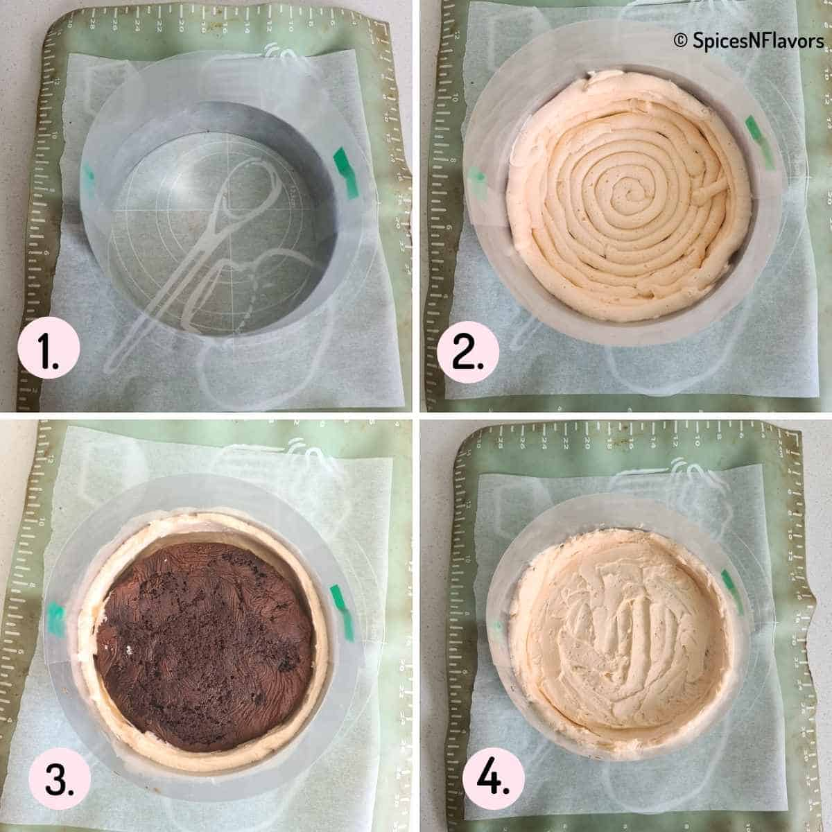 collage of images showing how to assemble cake and frosting in mousse ring