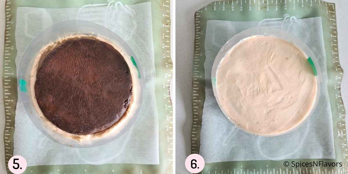 collage of steps showing the final assembly of the cake