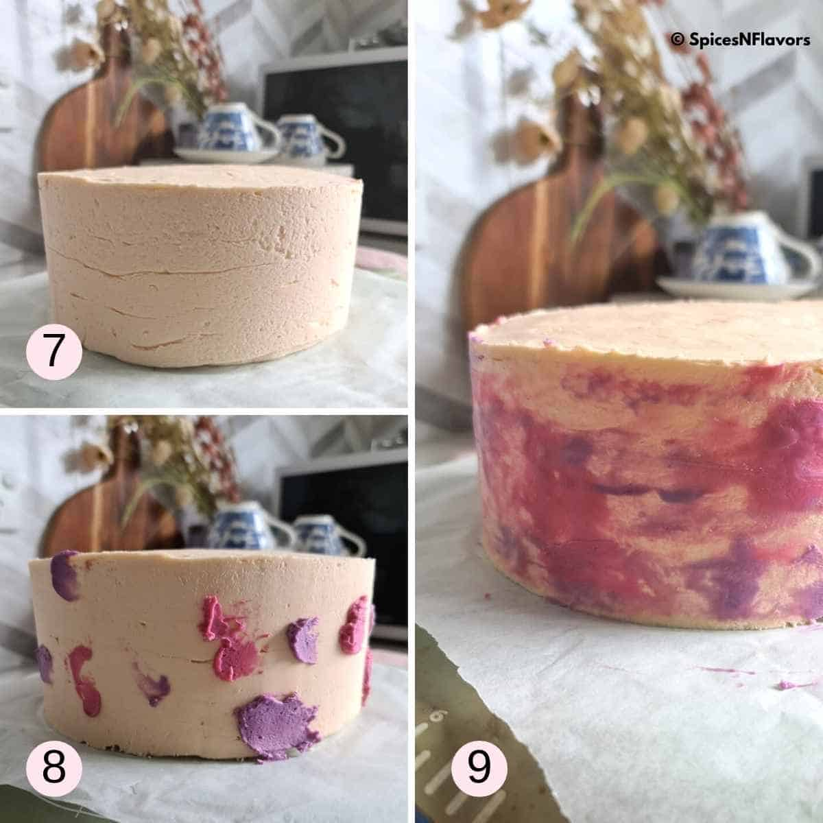 collage of images showing the watercolour technique on the cake