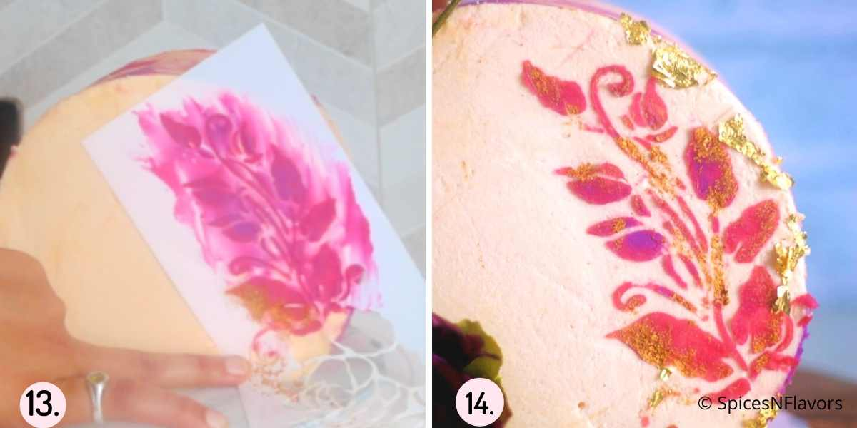 collage of images showing how to decorate the top forward cake